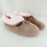 Womens Bootie Slippers Fleece Textured Bow Blush Pink Size 8-9