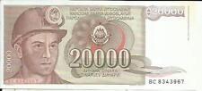 YUGOSLAVIA 20000 DINARA 1987  P 95. UNC CONDITION. 4RW 09MAR