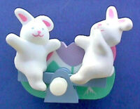 Hallmark PIN Easter Vintage WIND UP BUNNY RABBIT SeeSaw ACTION Holiday Brooch