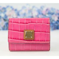 Dooney and Bourke Hot Pink Croc Leather Landon Trifold Wallet NWT
