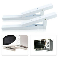 2 x White Microwave Wall Mounting Holder Brackets With Extendable Arms Steel UK