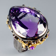 Sterling Silver Ring Size 8.5/R117604 Top Color 30ct+ Natural Amethyst 925