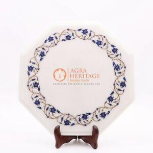 "Antique Marble Top Table 12"" Handmade Lapis Stone Floral Design Corridor Decor"