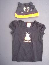 Girl Halloween Tee T-Shirt Hat Set Toddler Sz 2T Black Witch Cat Pumpkin Costume