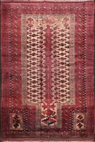 Vintage Geometric Tribal Balouch Afghan Area Rug Hand-knotted Foyer Carpet 4'x5'