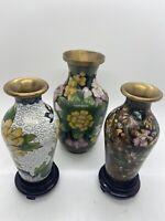 3 Vintage Cloisonne Brass Vases Floral with 2 Display Stands