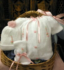 NWT Will'beth White Pink Knit 4pc Diaper Set Preemie Baby Girls Hat Booties 00