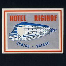 Hôtel rigihof Zurich Switzerland * old swiss luggage label Valise Autocollant