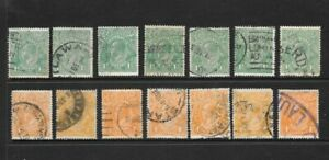 Stamps Australia KGV Heads Selection x 14 Good Used/Fine Used 1.5d, 4d