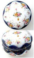 Vintage Powder Box Hand Painted Roses Vanity Dresser Jar Porcelain Blue Pink