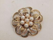 Vintage Jewellery - Gold Plated Faux Pearl Flower Brooch - Deceased Estate