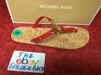 Michael Kors Red Gold MK Logo Charm Jelly Cork Flip Flop Sandals Size 6-10 NIB