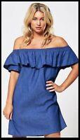 Ruffle Detail Bardot Denim Wash Chambray Dress in Dark Blue (RRP £27.99)