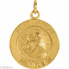 14K Solid GOLD Small St St. Saint Anthony round medal charm  pendant
