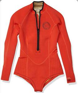 Billabong Red Salty DayZ Long Sleeve Swim Wetsuit WOMENS SIZE 8 ZP-4407