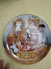 Dmitry & Olga Cat Plate The Comforts Of Home. Danbury Mint. Comical Cats
