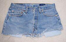 Ladies Blue Rinse Levi's Cut Off Denim Mini Skirt Size 10