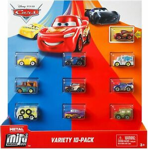 Disney Cars Metal Mini Racers Classic 10 Pack with Lightning McQueen, Sarge