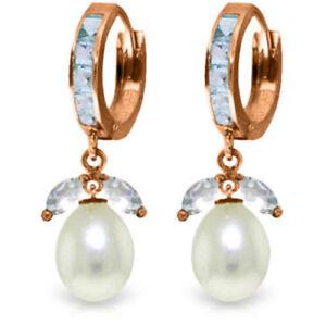 Genuine Aquamarine Gems Huggie Hoops Cultured Pearl Drop Earrings 14K Solid Gold