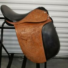 "Leather Dressage saddle 17""- Floral Hand carved -New"