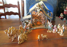 """Fontanini by Roman 16 Piece 5"""" Figures with Lighted Manger In Original Box"""