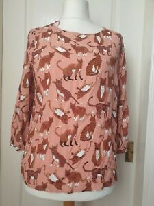 TU Size 12 Pink Top With Cat Print- Pets,Furry, Paws- Brand New With Tag