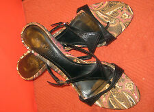 Nine West~Black~Leather~Sandals~Side Silver~Buckles~T-Cross~Size 8M!