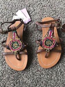 Monsoon Girls Beaded Sandals New Size 8