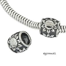 1x Sterling Silver Sunflower Tube European Charm Leather Cord Spacer Beads 97533