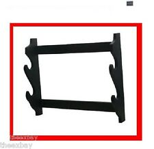 BLACK Hardwood WALL SWORD STAND Rack 2 PLACE Tier Katana Ninja Samurai Shogun