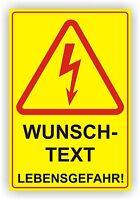 Elektro Pfeil Wunschtext / Warnschild /  Schild/ Hochspannung/ Alu-Verbund 3mm