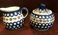 Lovely Blue Polish Pottery Creamer and Sugar Bowl Set