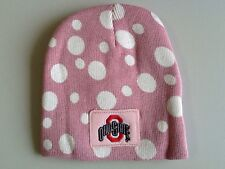 Ohio State Collegiate Licensed Pink Polka Dot Hat + Mittens Set NOS