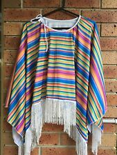 MEXICAN PONCHO Costume Wild West Cowboy Party Adult Bandit Dress Up