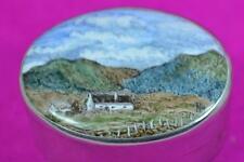 vintage sterling silver painted enamel box Paul Henry Irish landscape view 1986