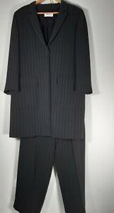 Windsmoor Retro Long-line Grey Wool Blend Pinstripe Trouser Suit 2-piece Size 16