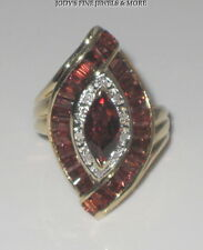 Marquise Garnet Diamond Ring Size 6.25 Exquisite Estate 14K Yellow Gold Baguette