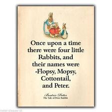 Metal Sign Wall Plaque Peter Rabbit Beatrix Potter Quote print Childrens Bedroom