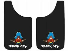 "PAIR Yosemite Sam Back Off Easy Fit Mud Guards Flaps 11"" x 20"" New Free Shipping"