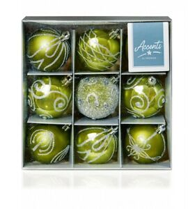 Shatterproof Green Christmas Baubles 60mm - Pack of 9