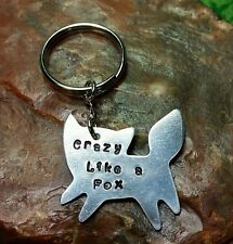 Crazy Like A FOX Stamped Hand-made Aluminum KEY RING