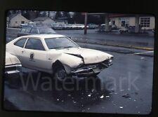 1977 Ektachrome Photo slide Seattle WA  Ford Pinto car crash wreck #2 KCFD