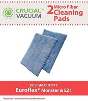 2 Replacements Euroflex Monster EZ1 Washable Steam Mop Pads
