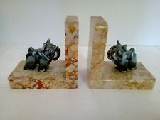 Bookends Bulldog French Iron White Carved On Marble Vein Art Deco