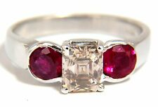 $9000 2.46CT Natural fancy color light brown diamond ruby ring 18kt. Three Stone