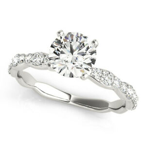 1.35 Ct Moissanite Round Cut White Gold Anniversary Ring 14K Solitaire Girl ring