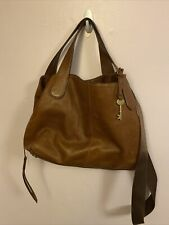 FOSSIL SATCHEL Large Brown Tan Leather Convertible Crossbody Purse Tote Bag