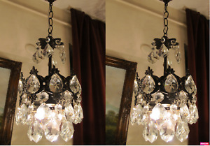 PAIR OF Antique Vnt.French Basket Style Crystal Chandelier Lamp Light 1940's..