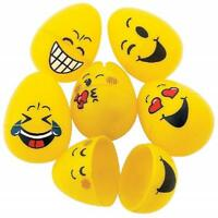 Emoji Plastic Easter Eggs - 48 Pieces - Emoticon Egg Hunt and Easter Basket Eggs