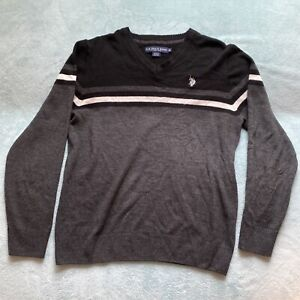 US POLO ASSN Mens Gray V-Neck Sweater Size XL